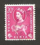 Stamps : Africa : Kenya :  Elizabeth II y ñu