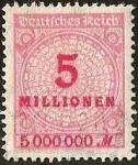 sellos de Europa - Alemania -  DEUTSCHES REICH - IMPERIO ALEMAN - 5 MILLIONEN