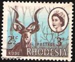 Stamps : Africa : Zimbabwe :  rhodesia - elizabeth II y antílope kudu