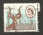 Stamps : Africa : Zimbabwe :  rhodesia - elizabeth II y antilope kudu