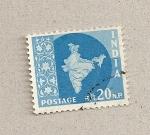 Sellos de Asia - India -  Mapa del país