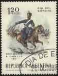 Stamps Argentina -  Día del Ejército. Militares granaderos a caballo en el año 1812.
