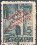 Stamps Europe - Spain -  España Barcelona 1939 Edifil 22 Sello º Puerta Gotica del Ayuntamiento Arriba España Conmemoracion L