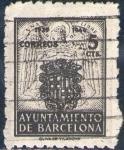 Sellos de Europa - España -  España Barcelona 1943 Edifil 58 Sello Escudos Nacional y de la ciudad con nº control al dorso Usado