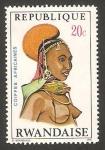 Stamps Rwanda -  peinado africano, mujer de Rendille