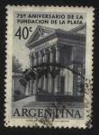 Stamps Argentina -  75 años de la fundación de la ciudad de la Plata. Edificio del Museo de ciencias naturales de La Pla