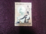 Stamps : America : Colombia :  Derechos -políticos-de-la-Mujer - estatua de Policarpa Salabarrieta.