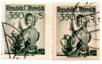 Stamps Austria -  1948-Costumbres Regionales-1950(diferentes papeles)