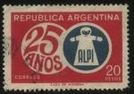 Stamps Argentina -  25 años de ALPI, Asociación para la lucha contra la parálisis infantil, que se crea en el año 1943 a