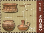 Stamps of the world : Peru :  Cultura Chincha, (1,000dc.). Cerámica y Mapa.