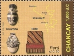 Stamps America - Peru -  Cultura Chancay, (1,000dc.). Cerámica, Textil y Mapa.