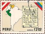 Stamps America - Peru -  Entrevista de los Presidentes del Perú y Venezuela. Mapas de Perú y Venezuela.