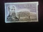 Stamps : America : Colombia :  Aquileo Parra (1825-1900)Presidente - Puente Ferroviario sobre el río Magdalena-Terminación del Ferr