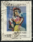 Sellos de America - Argentina -  Pintura Figura con pájaro de Juan Del Prete  1897-1987 Pintor, escultor, dibujante, fotógrafo y esce