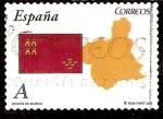 Stamps Europe - Spain -  Bandera y mapa de la Región de Murcia
