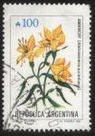 sellos de America - Argentina -  Flor de Amancay - Alstroemeria aurantiaca.