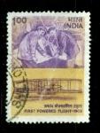 Sellos de Asia - India -  Primer vuelo con motor