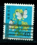 Stamps : Asia : Japan :  Flores y mariposas