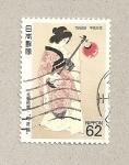 Stamps Japan -  Japonesa con instrumento musical