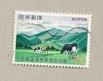 Sellos de Asia - Japón -  Montañas y vacas