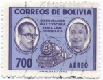 Stamps Bolivia -  Conmemoracion de la Inaguracion del Ferrocarril Yacuiba - Santa Cruz. Siles Suazo - Aramburo, Presid