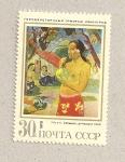 Stamps Russia -  Mujer con frutas de Gauguin