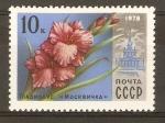 Sellos de Europa - Rusia -  GLADIOLUS   MOSCOVITE   Y  EDIFICIO   VDNH