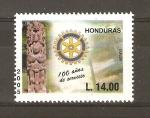 Stamps Honduras -  ESTELA   MAYA   Y   EMBLEMA   ROTARIO