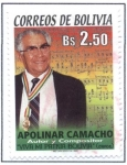 "Stamps of the world : Bolivia :  Apolinar Camacho Orellana, Autor y Compositor de la cueca ""VIVA MI PATRIA BOLIVIA"""