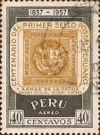 Stamps Peru -  Centenario del Primer Sello Postal Peruano. 1857 - 1957