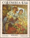 Stamps of the world : Colombia :  Pinturas de Colombia Colonial y Moderna. Mercado(de Díaz Vargas).