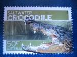 Stamps Oceania - Australia -  Fauna australiana:  Salt water cocodrile