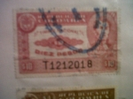 Stamps of the world : Colombia :  sello de Colombia de 10 pesos de timbre nacional