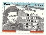 Stamps America - Peru -  100 años del Cruce de los Alpes por Jorge Chávez