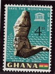 Sellos de Africa - Ghana -  Monumentos de Nubia en Abu Simbel (Egipto) esfinge de Sebua