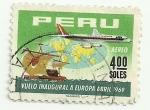 Sellos de America - Perú -  Primer vuelo de APSA a Europa