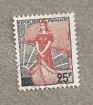 Stamps France -  Simbolo republica francesa en barco