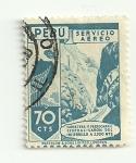 Stamps Peru -  Carretera y Ferrocarril central - Cañon del infiernillo a 3300 mts