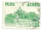 Stamps Peru -  Monumento al agricultor indígena