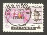 Sellos del Mundo : Asia : Malasia : selangor - sultán salahuddin abdul aziz shah y flor