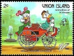 Sellos del Mundo : America : San_Vicente_y_las_Granadinas : UNION ISLAND (St.Vincent) 1989 Scott 242 Sello ** Walt Disney Coches Antiguos Donald y Daisy en Pahn