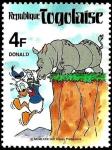 Sellos de Africa - Togo -  TOGO 1980 Scott 1002 Sello ** Walt Disney Donald y el Rinoceronte 4F