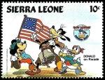 Stamps Africa - Sierra Leone -  SIERRA LEONE 1984 Scott 662 Sello ** Walt Disney 50 Aniversario de Donald con Mickey y Goofy en Para