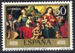 Stamps Spain -  2542 Juan de Juanes. Desposorios místicos del venerable Agnesio.