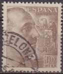 Sellos de Europa - España -  ESPAÑA 1940 935 Sello General Franco 10pts Usado Espana Spain Espagne Spagna Spanje Spanien