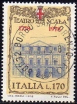 Stamps Italy -  Italia 1978 Scott 1312 Sello Teatro alla Scala Milan Palacio de la Opera Fachada usado timbre, franc