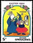 Sellos del Mundo : America : Granada : Grenada Grenadines 1984 Scott 585 Sello ** Walt Disney Easter Mago Merlin y Madam MIM 5c