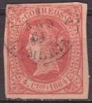 Sellos de Europa - España -  ESPAÑA 1864 64 Sello Isabel II 4cu usado Espana Spain Espagne Spagna