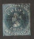 Sellos del Mundo : America : Chile : PRIMERA EMISION - PRIMERA IMPRESION DE LONDRES 1853, SELLO N° 2 CHILE