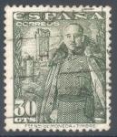 Sellos de Europa - España -  ESPAÑA 1948-54_1025 General Franco y castillo de la Mota.